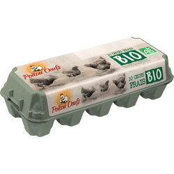 Oeufs poules plein air tout calibre bio, POITOU OEUFS, x10