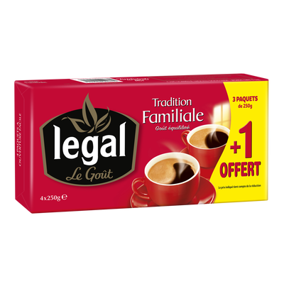 Café moulu Prestige & Tradition LEGAL, 3x250g+1offert 1kg