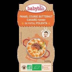 Bol panais courge butternut, canard fermier du Poitou, polenta BABYBIO, dès 12 mois, 2x200g