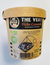 Thé vert pêche caramel BIO, ATELIER DES CAFES ET THES, 15 sachets pyramide, pot 37.5g
