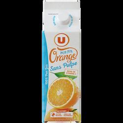 Pur jus d'orange sans pulpe U, brique de 1l