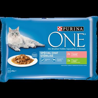 Sachets fraîcheur pour chat stérilisé effilés de saumon et de dinde PURINA ONE, 4x85g