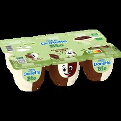 Dessert lacté bio chocolat/lait p'tite DANETTE 6x65g 390g