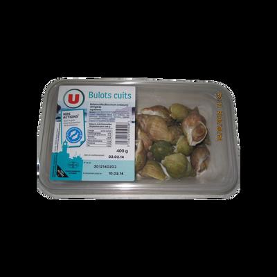 Bulots cuits, Buccinum undatum, U, pêchés en Atlantique Nord-Est, barquette de 400g