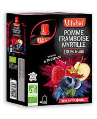 Gourde Pomme Framboise Myrtille Bio Vitabio 4x120g