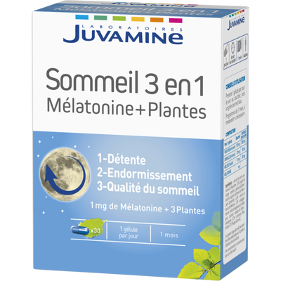 Gélule sommeil 3 en 1 mélatonine et plantes JUVAMINE, x 30