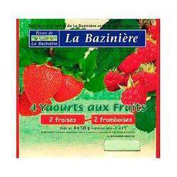 Yaourts aux fruits, BLEU BLANC COEUR, au lait entier de vache, fraises et framboises, La Bazinière, pot 4x125g