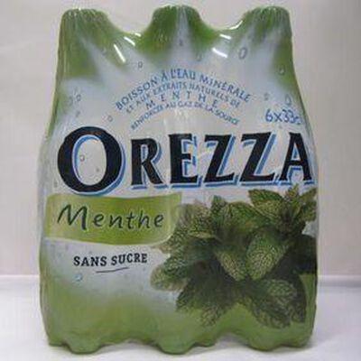 Eau minérale gazeuse aux extraits naturels de menthe sans sucre  OREZZA, 6x33cl