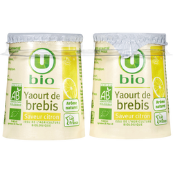 Yaourt au lait de brebis saveur citron U BIO, 2x125g