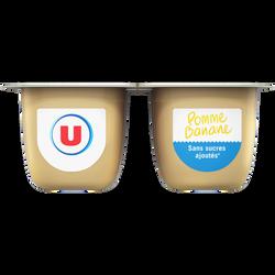 Purée de pommes banane sans sucres ajoutés U, 4x100g
