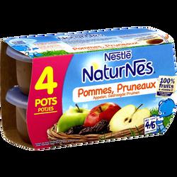 Compote pomme pruneaux NATURNES, dès 4-6 mois, 4x130g