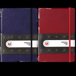Petit cahier élastique U, 14x21cm, papier ligné, 192 pages, colorisassortis