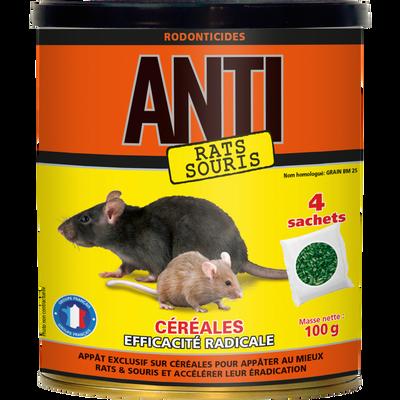 Souricide raticide ANTI, efficacité radicale, céréales canadien, 100g