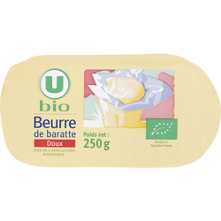 Beurre doux de baratte U BIO, 250g
