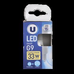 Led U, capsule, g9, 33w, opaque, lumière chaude