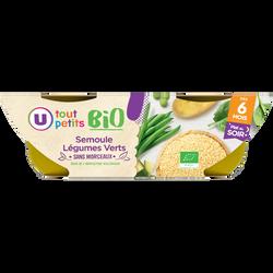 Bols soir légumes verts semoule Tout Petits Bio U, dès 6 mois, 2 bolsde 200g