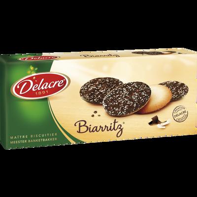 Biscuits Biarritz chocolat noir DELACRE, boîte de 125g