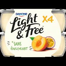 Spécialité laitière sucrée aromatisée à la pêche et au fruit de la passion LIGHT&FREE, 4x120g