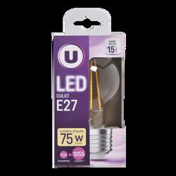 Led U, ronde, 75w, e27, transparent, lumière chaude