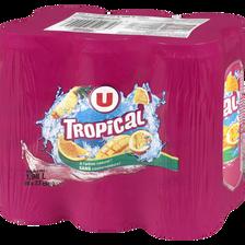 Boisson aux fruits plate tropical U, 6 canettes de 33cl