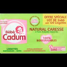 Lingettes pour bébés Natural Caresse CADUM, 2 paquets de 60