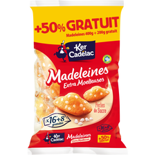 Ker Cadélac Madeleine Perle De Sucre Extra Moëlleuse , 16 Sachets +50%gratuits, 400g