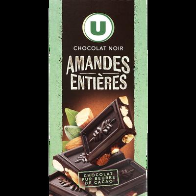 Tablette de chocolat noir aux amandes U, 200g