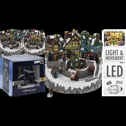 Village de Noël 11 led blanc chaud avec mouvement 23x23x22cm -adaptateur inclus-2 ass modèles