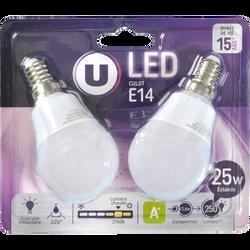 Ampoule Led U, mini ronde, 25W, culot E14, verre givré, blanc chaud, 2unités