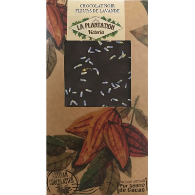 Chocolat nr fleurs de lavande, LA PLANTATION BOVETTI, tablette de 80g