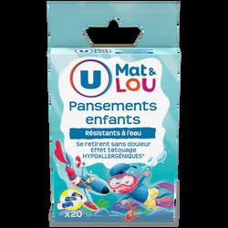 Pansements prédécoupés pour enfants U MAT ET LOU, x20