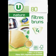 Filtres à café numéro 4 brun U NATURE, 80 unités