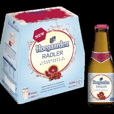 Bière cranberry HOEGAARDEN RADLER, 2°, 6x25cl