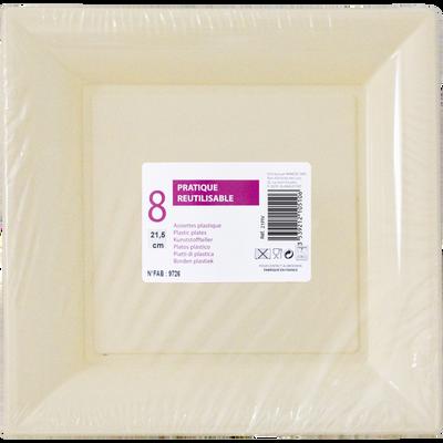 Assiettes carrées, en plastique, 21,5cm, ivoire, 8 unités