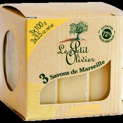 Savon cube de marseille glycériné LE PETIT OLIVIER, 3x100g