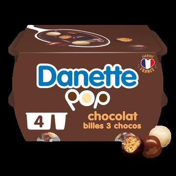 Danone Crème Dessert Chocolat Billes 3 Chocolat Danette, 4x117g