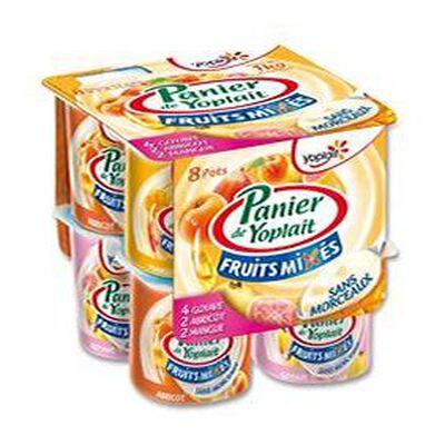 Yaourt Panier Mixé aux Fruits abricots, goyave, mangue Yoplait  8x125g