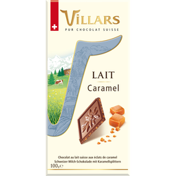 Chocolat au lait Suisse aux éclats de caramel Dégustation, VILLARS, tablette de 100g