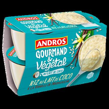Andros Riz Au Lait De Coco Vanille Végétal Andros, 4x100g