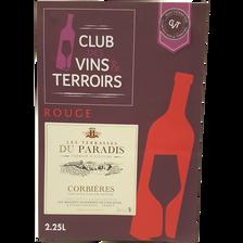 CVT Corbières AOP rouge LES TERASSES DU PARADIS, cubis de 2,25l