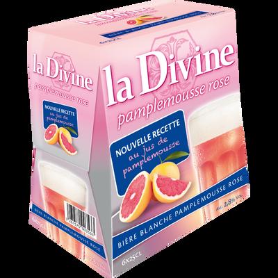 Bière pamplemousse rosé LA DIVINE, 2°8, pack de 6x25cl