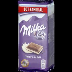 Chocolat tendre au lait MILKA, 6x100g
