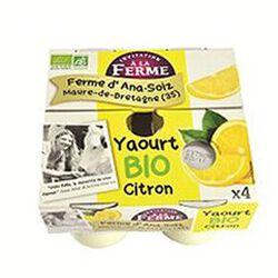 Yaourt BIO au lait frais de vaches, citron, FERME D'ANA-SOIZ, 4 pots de 125g