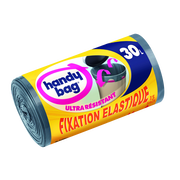 Handy Bag Sacs Poubelle Aux Poignées Coulissantes Ultra Résistants Fixation Élastique Handy Bag, 15x30l