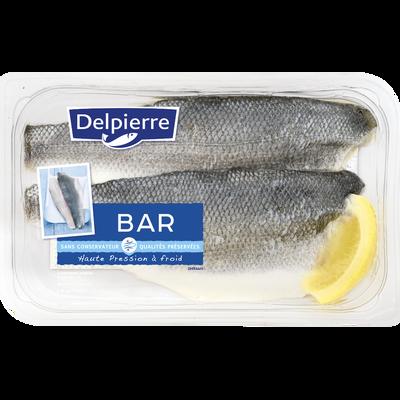 Filets de bar, dicentrarchus labrax, transformé en France, barquette de 190g