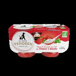 Yaourt brassé bio au lait entier de vache sur confiture de fraise basilic LE PETIT VENDEEN 2x125g