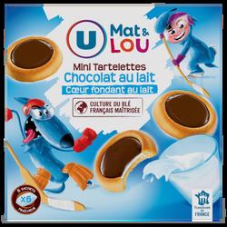 Mini tartelettes au chocolat au lait coeur fondant au lait U MAT & LOU, 225g