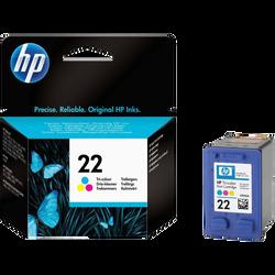 Cartouche d'encre HP pour imprimante, C9352AE 3 couleurs n°22, sous blister