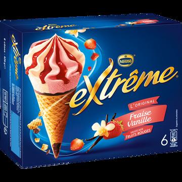 Nestlé Cônes Glacés Fraise Vanille Extrême, X6 Soit 426g