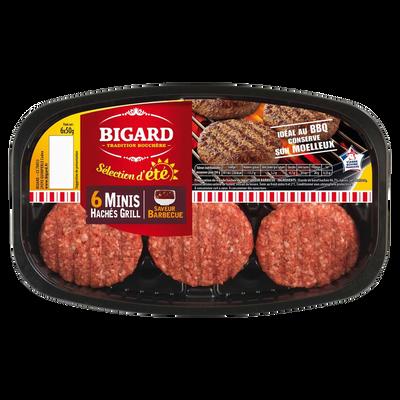 Mini-haché grill sauce barbecue, BIGARD, France, 6 pièces, barquette,300g